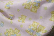 Pink Teddy Bear Fabric material poly cotton